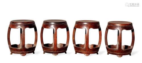 清 红木圆形鼓凳四只