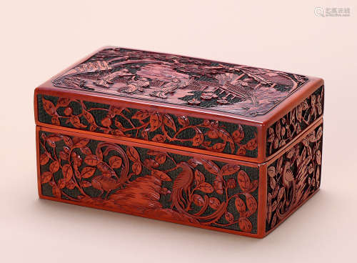 清 剔红人物故事方盒