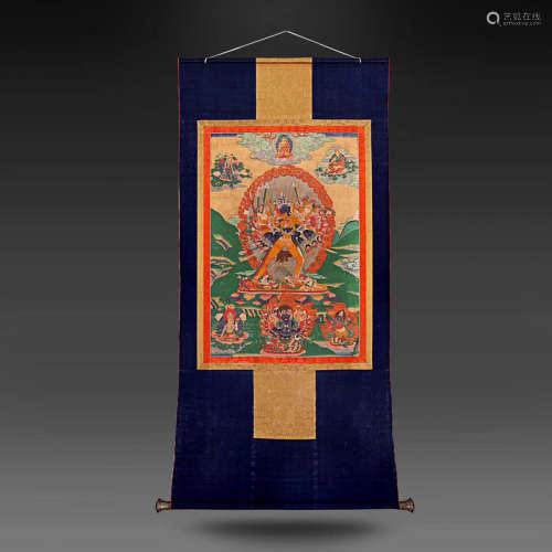 A SHILONG KING KONG BUDDHA THANGKA