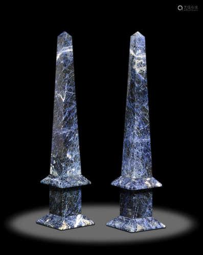 Pair of Sodalite Obelisks