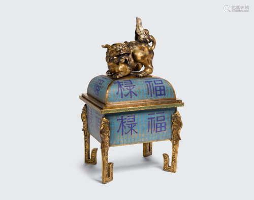 Xuande mark, 18th/19th century A large cloisonné incense burner and cover with auspicious characters