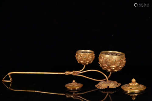 17TH-19TH CENTURY, A PALACE STYLE GILT BRONZE HANDHELD CENSER, QING DYNASTY