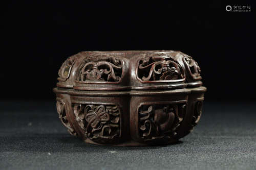 17-19TH CENTURY, OLD FLOWER PATTERN BAMBOO CENSER,QING DYNASTY