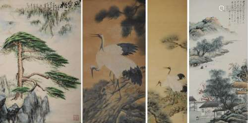 (4) Chinese Landscape & Pine Tree Paintings
