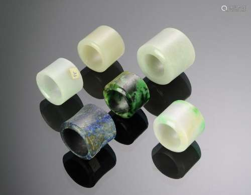 (6) Chinese Jade & Stone Archers Rings 18 - 19 C.