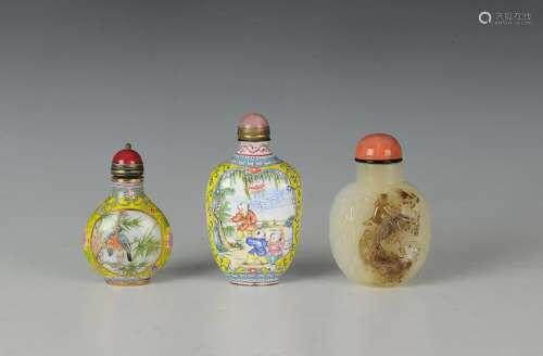 (3) Chinese Snuff Bottles, Qianlong Mark & 19-20th C.