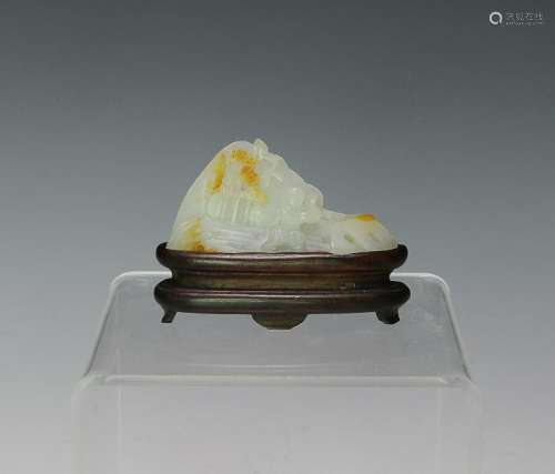 Chinese White Jade Carving w/ Skin, 18th C.