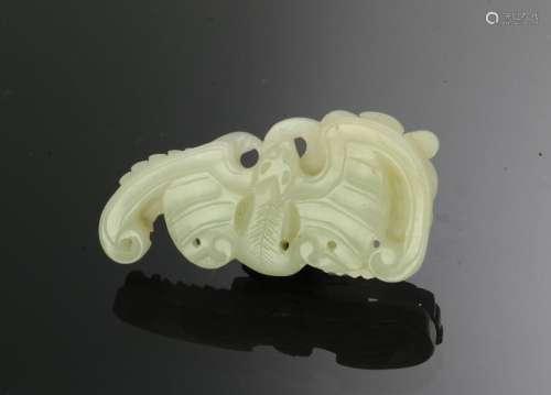 Chinese White Jade Plaque w/ Bat, 18th Century