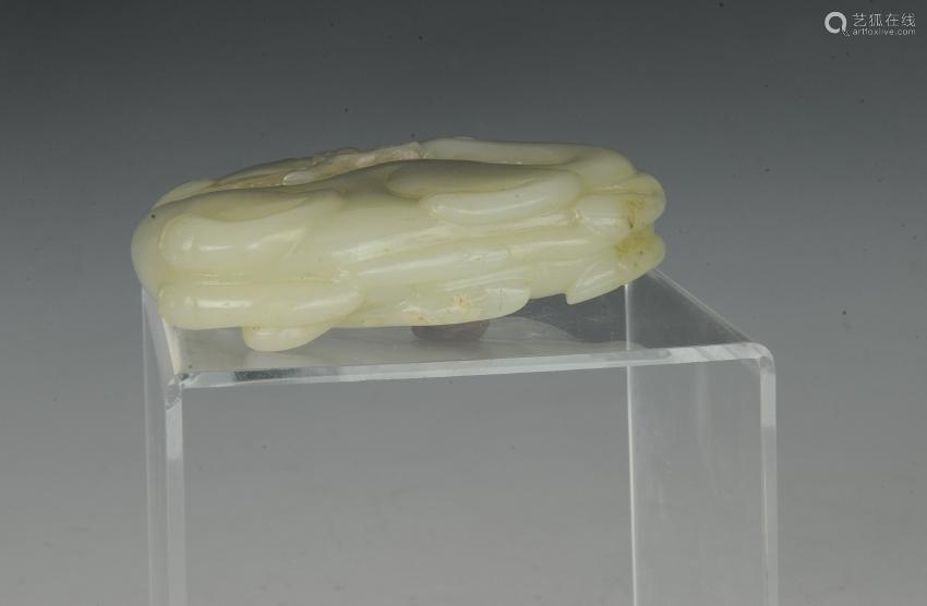 Chinese White Jade Deer & Lingzhi Carving, 18th C.