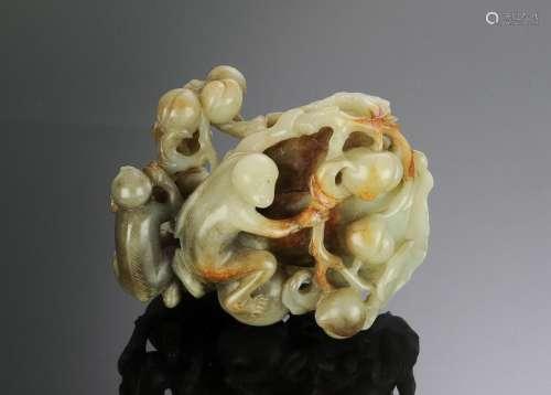 Chinese Jade Monkey & Peach Carving, 18th Century