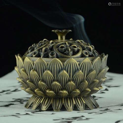 莲花铜炉香炉(配防火棉与沉香盘香)