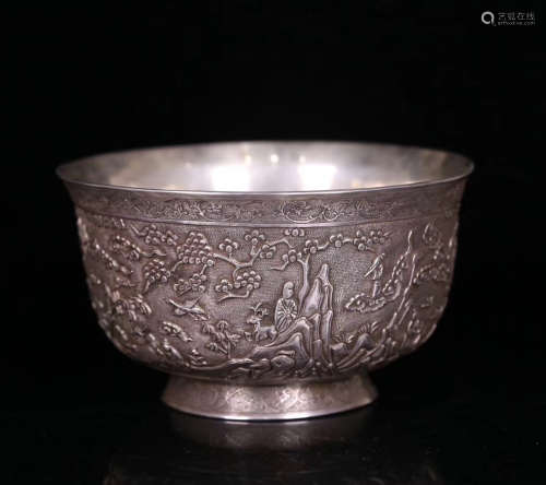 A SILVER CASTED CHARACTER STORY PATTERN BOWL