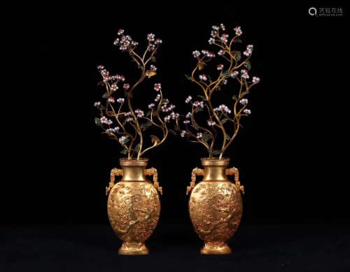PAIR GILT BRONZE MOLDED BLOSSOMING ORNAMENTS