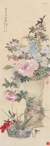 宋美龄 花卉 立轴 绢本