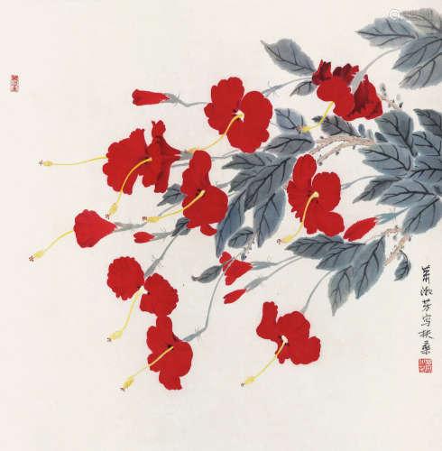 萧淑芳 花卉 立轴 纸本