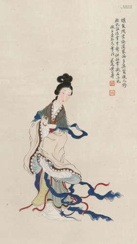 黄山寿 人物 立轴 纸本