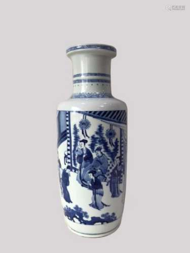 A BLUE AND WHITE ROULEAU VASE ,KANGXI PERIOD