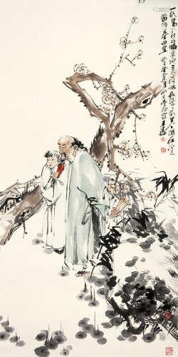 王涛(b.1943) 赏梅图 设色纸本 立轴