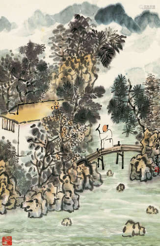 张捷(b.1963) 策杖过桥图 设色纸本 立轴