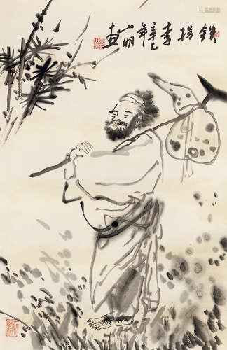 吴山明(b.1941) 铁拐李 水墨纸本 立轴