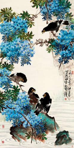 苏葆桢(1916~1990) 花鸟 设色纸本 镜芯