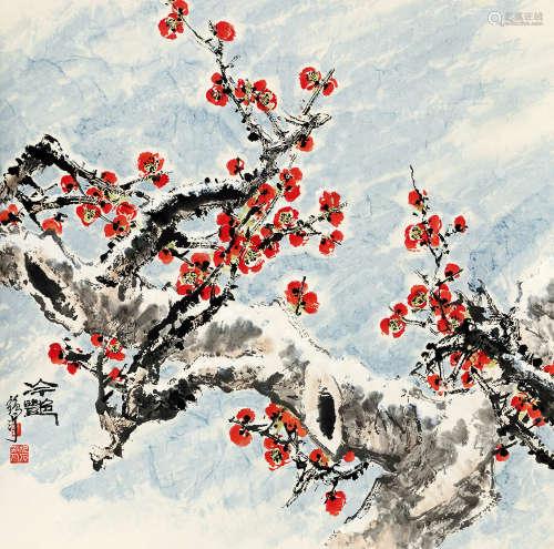 蔡鹤汀(1910~1976) 冷艳 设色纸本 立轴