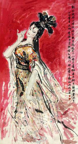 薛林兴(b.1951) 贵妃图 设色纸本 立轴