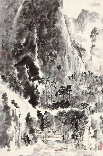童中焘(b.1939) 溪山人家 设色纸本 镜芯