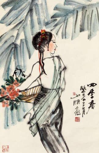 吴山明(b.1941) 四季春 设色纸本 立轴