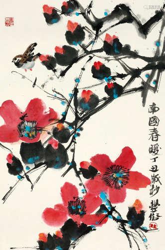 林丰俗(b.1939) 南国春暖 设色纸本 镜芯