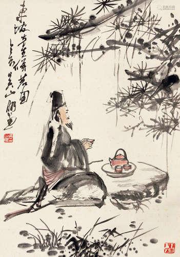 吴山明(b.1941) 东坡先生候茗图 设色纸本 立轴