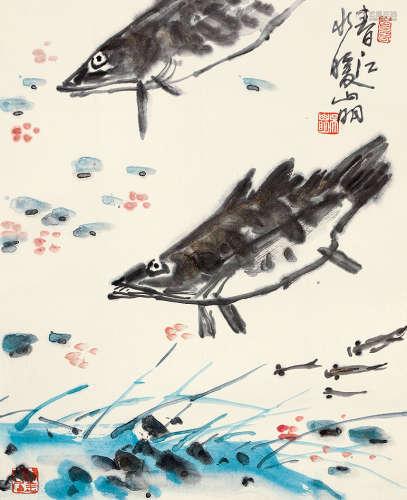 吴山明(b.1941) 春江水暖 设色纸本 立轴