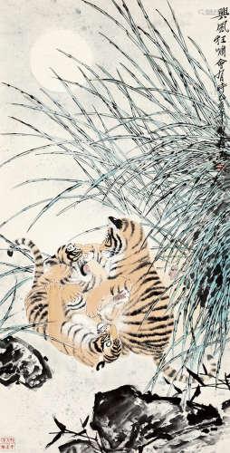 方楚雄(b.1950) 兴风狂啸会有时 设色纸本 立轴