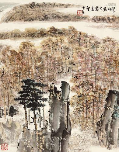 童中焘(b.1939) 琴松风兮寂万壑 设色纸本 立轴