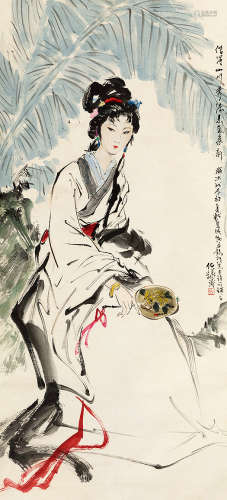 白伯骅(b.1944) 芭蕉仕女 设色纸本 立轴