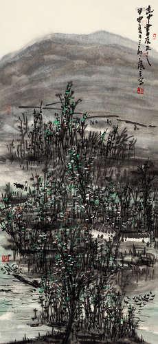 曾宓(b.1935) 牧牛图 设色纸本 立轴