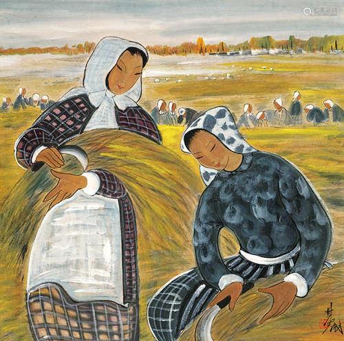 林风眠(1900~1991) 收割图 设色纸本 镜芯