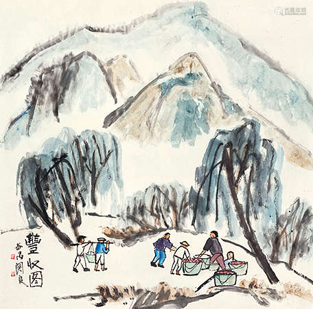 关良(1900~1986) 丰收图 设色纸本 镜芯