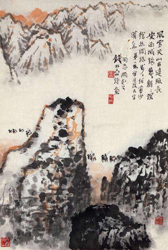 钱松嵒(1899~1985) 雪山骆铃 水墨纸本 镜芯