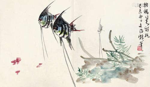 宋文治(1919~2000) 双鱼图 设色纸本 镜芯