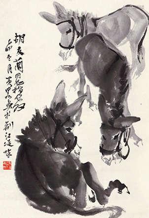 黄胄(1925~1997) 三驴图 水墨纸本 立轴