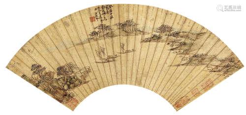 王原祁(1642~1715) 泛舟图 设色纸本 扇面