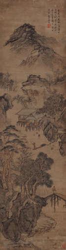 蓝瑛(1585~1664) 春江放舟图 设色纸本 立轴