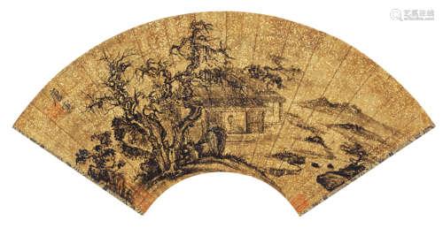唐寅(1470~1524) 松屋读书图 水墨纸本 扇面