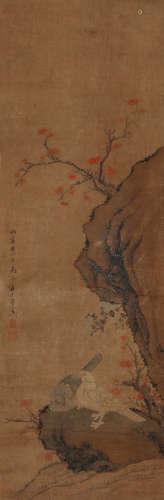 蒋廷锡(1669~1732) 红叶双栖图 设色绢本 立轴