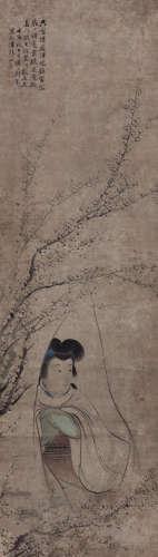 刘德之(1806~1875) 梅花仕女 设色纸本 立轴