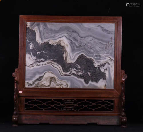 17-19TH CENTURY, AN OLD ROSEWOOD BASE WITH MARBLE SCREEN, QING DYNASTY