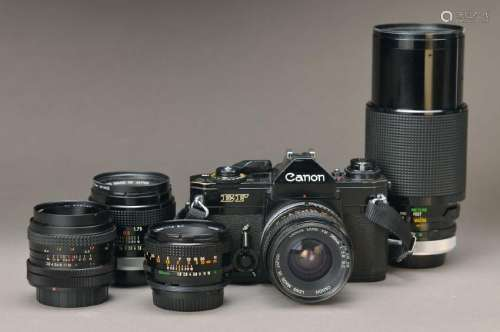 Camera Canon EF with 5 Objectives, 1;2.8 28mm , Vivitar