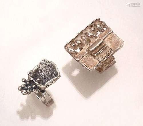 Lot 2 designer rings, german approx. 1960s