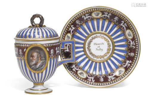 A Meissen (Marcolini) porcelain double-portrait cup, cover and stand